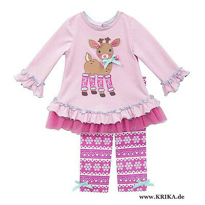 RARE EDITIONS 2tlg. SET Kleid & Leggings H274625 Mädchen Outfit PINK NEU USA ()