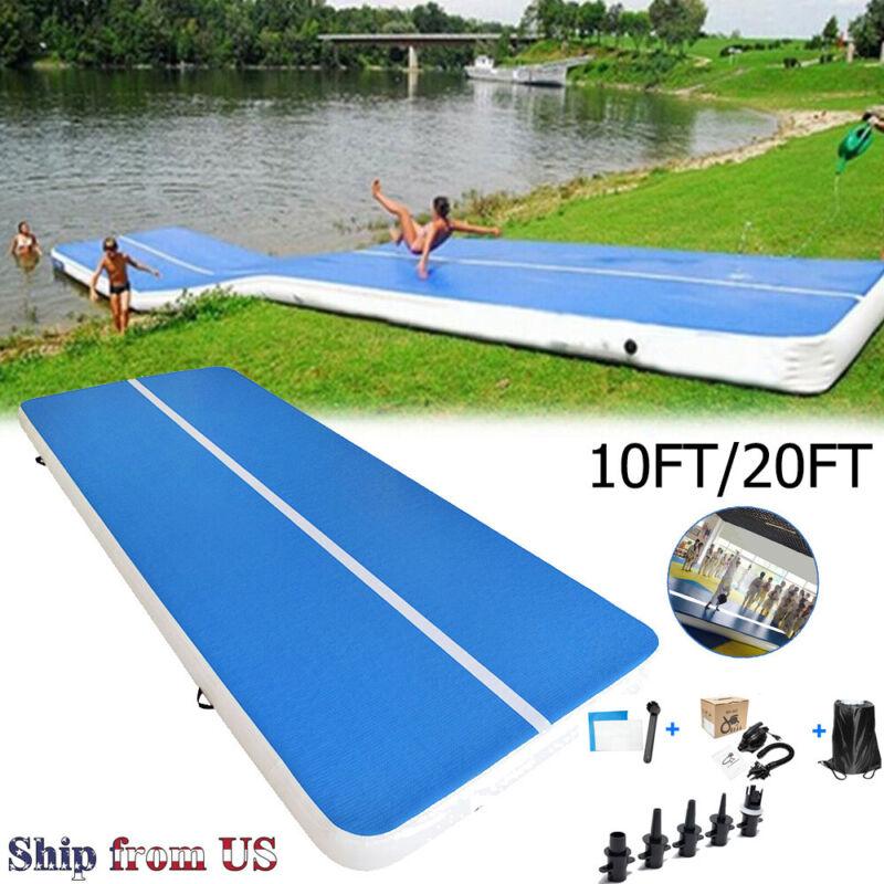 10/20FT Air Track Inflatable Air Track Floor Gymnastics Tumbling Mat GYM+Pump US