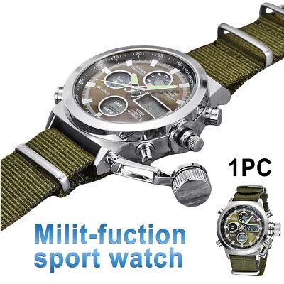 Men Military Wrist Watch Army Green Analog Digital Quartz Nylon Canvas Sport US