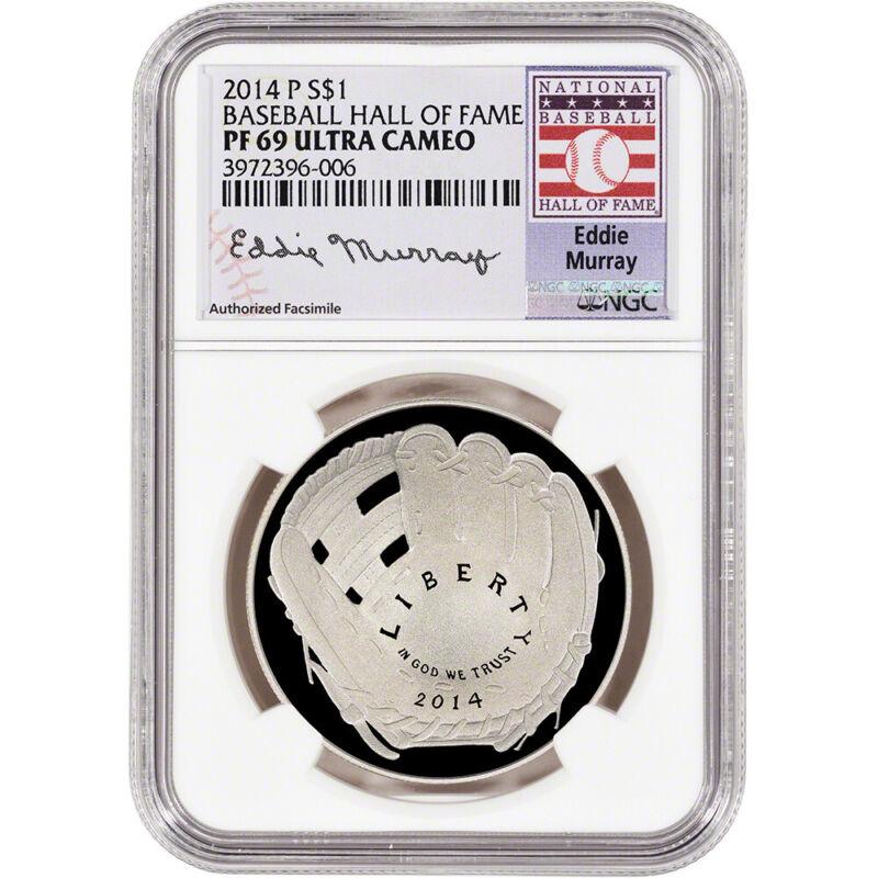 2014-P US Baseball Proof Silver $1 - NGC PF69 - HOF Label - Eddie Murray