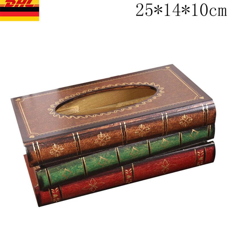 Holzbox Feuchttücherbox Tissuebox Kosmetiktücherbox Buch Taschentuchspender DHL