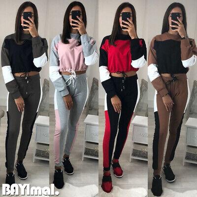 2Pcs Womens Crop Tops Long Pants Sets Ladies Casual Sports Tracksuit Lounge Wear
