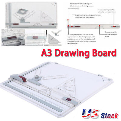 Pro Architect A3 Drawing Drafting Board Ruler Table Adjustable Angle Tool Set US