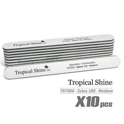 Tropical Shine Zebra Nail File 180/180 #707506 x 10 Pieces - (Zebra File)