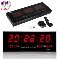 12/24 Hour Digital Large Big Jumbo LED Wall Desk ALARM Clock With Temperature