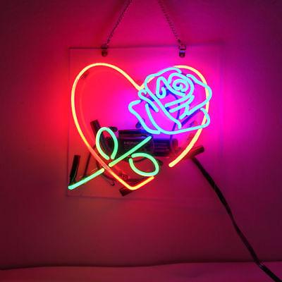 "New Love Rose Sweet Bar Pub Wall Decor Acrylic Neon Light Sign 14"""