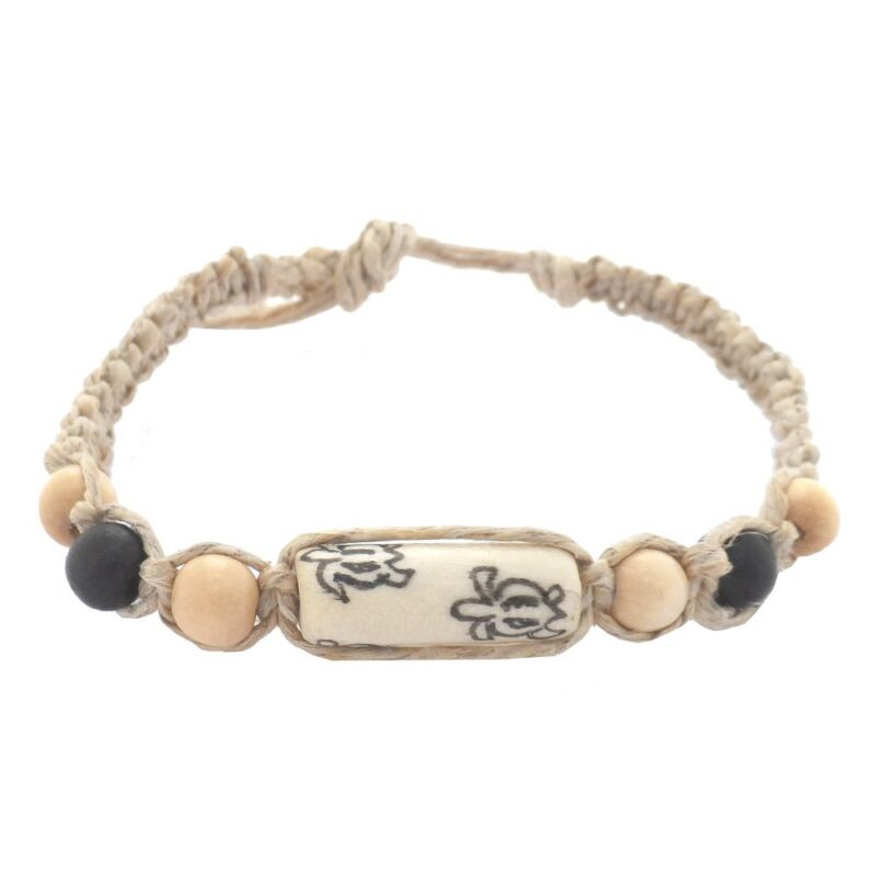 Hawaiian Jewelry Hand Tied Honu Sea Turtle Hemp Surfer Bead Bracelet / Anklet