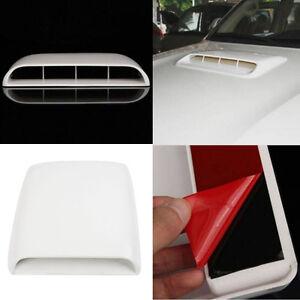 White Universal Car Scoop Vent Cover Bonnet decorative Air Flow Intake Hood Auto