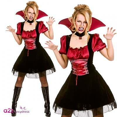 Womens Sexy Bloodlust Vamp Costume Dracula Vampiress Halloween Adult Fancy Dress