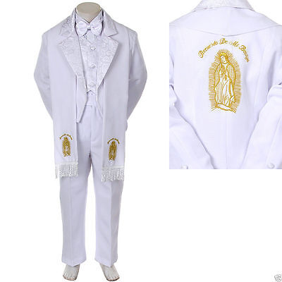 Baby Boy Christening Baptism/scarf Suit/6 pcs/ Size: S to 7>Gold Virgin Marry (Baby Boy Baptism)