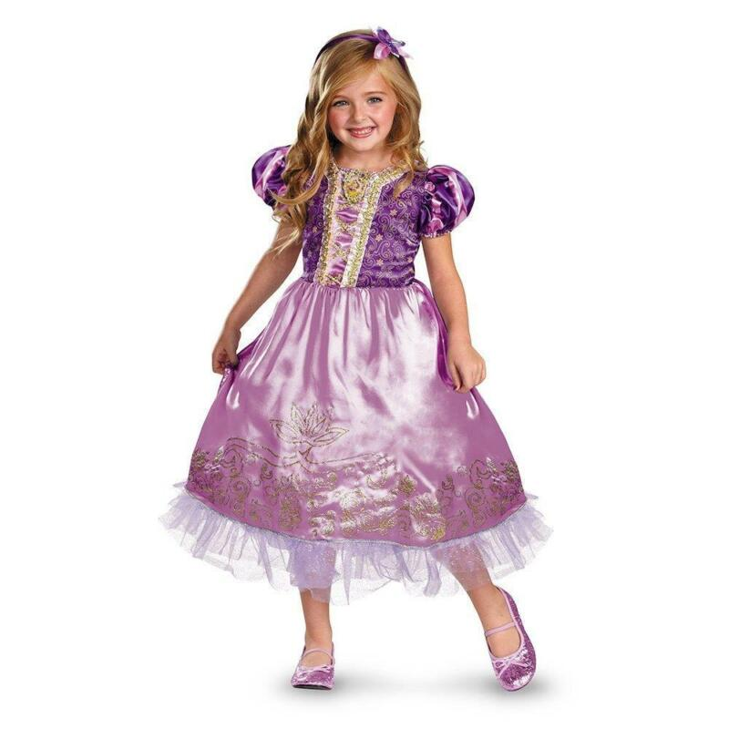 Disney Princess Rapunzel Tangled Deluxe Girl Costume Petticoat Wand Sz Small 4-6