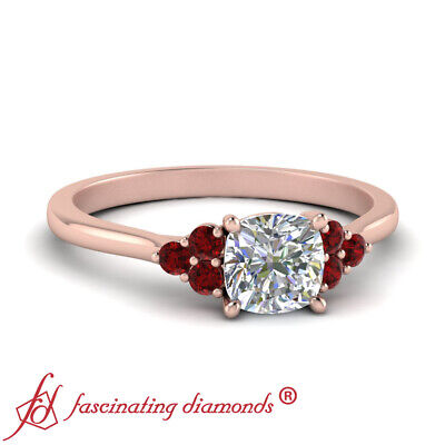 .75 Ctw Cushion Cut Diamond Delicate Engagement Ring With Round Cut Ruby Accents
