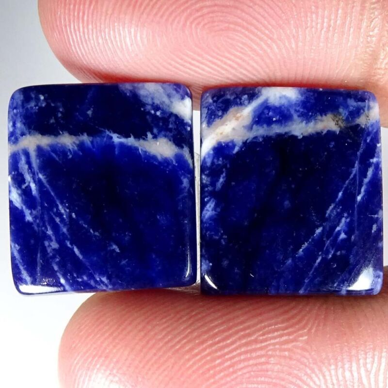 Blue Sodalite Natural Matched Octagon Cab Loose Gemstone Pair 22.45Cts.