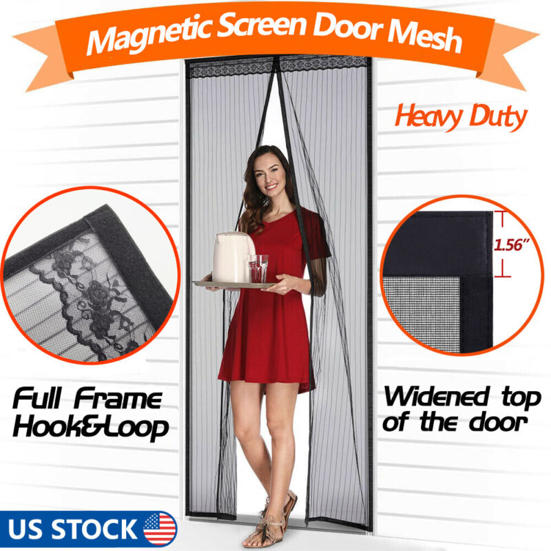 Magnetic Screen Door with Heavy Duty Strong Mesh and Magnets Curtain Transparent