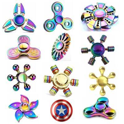 EDC Fidget Metal Hand Spinner Rainbow Focus ADHD Autism Finger Toy Gyro New Gift