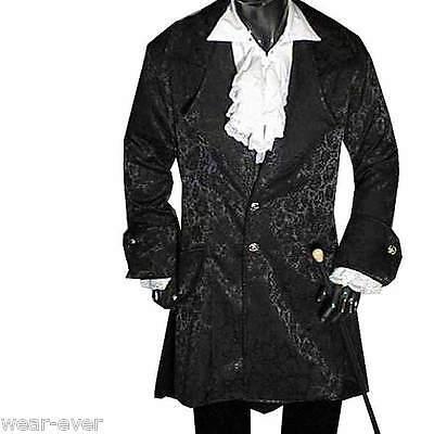 Gothic GEHROCK lange Form S kostüm schwarz steampunk 5015 (Schwarzer Gehrock Kostüm)