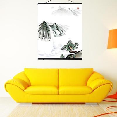 Magnetic Wooden Photo Frame Poster Scroll Print Artwork Hanger Home Decor - Wooden Poster Frames