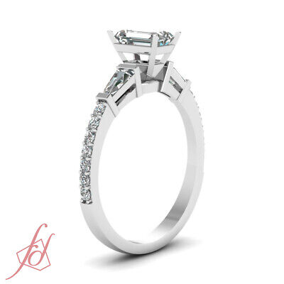 Pave Set 1.15 Ct Emerald Cut Conflict Free Diamond Engagement Ring GIA Certified 2