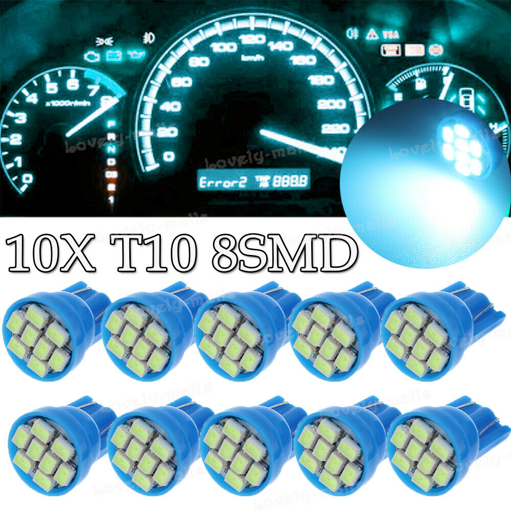 10X Ice Blue T10 Led Instrument Panel Cluster Light Dashboard Bulb For Toyota