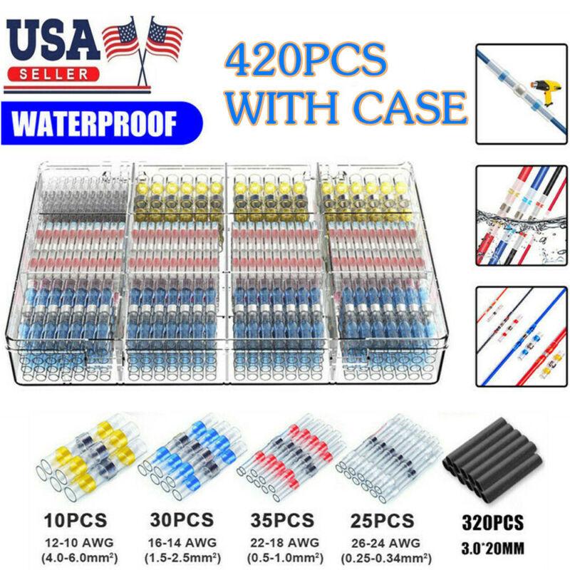 420PCS Waterproof Heat Shrink Butt Terminals Solder Seal Sleeve Wire Connectors