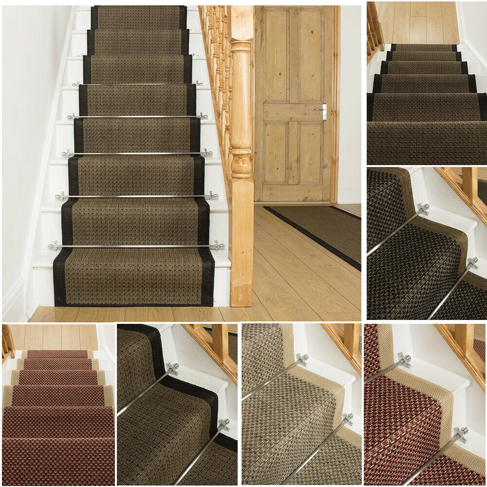 Replacing Carpet With A Stair Runner: EXTRA LONG BROWN TWEED BLACK STAIR STAIRCASE RUNNER CARPET
