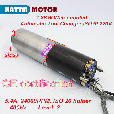 1.8kw Automatic Tool Changer 1800w Water Cooled Atc Spindle Motor Iso20 24000rpm