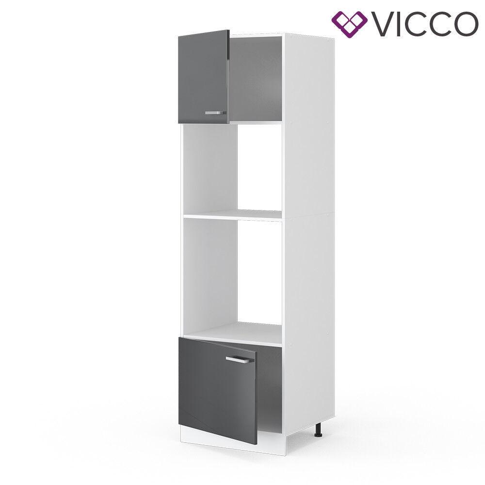 VICCO Küchenschrank Hängeschrank Unterschrank Küchenzeile R-Line Mikrowellenumbauschrank 60 cm anthrazit