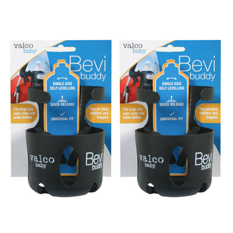 2PK Valco Baby Universal Bevi Buddy Storage 1.5L Cup Holder for Pram/Stroller BK
