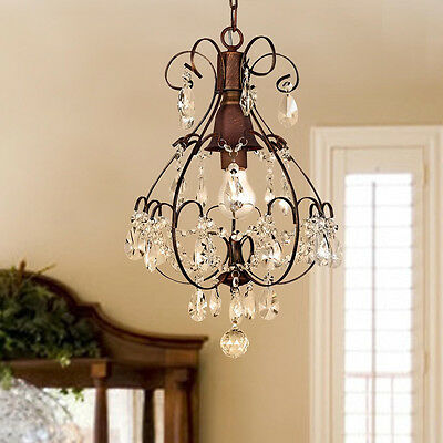 Rustic Crystal Chandelier Antique Vintage Lighting Light Fixture Hanging Pendant