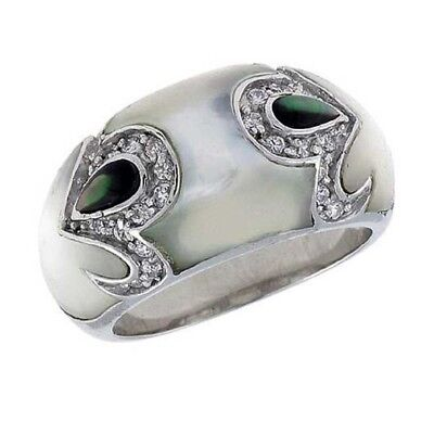 Sterling Silver White & Black Mother of Pearl w/ High Quality CZ Stones Ring Black Mother Of Pearl Ring