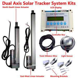 Dual Axis Solar Tracking Tracker Linear Actuator&Controller Electronic Sun Track