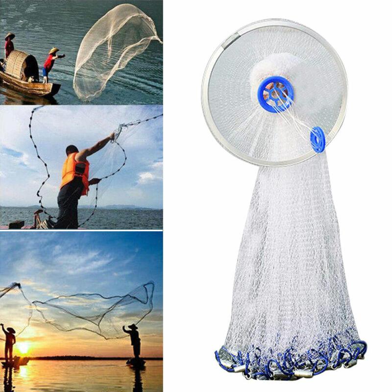 8ft//12ft//16ft Hand Cast Fishing Net Spin Network Throw Bait Nylon Mesh