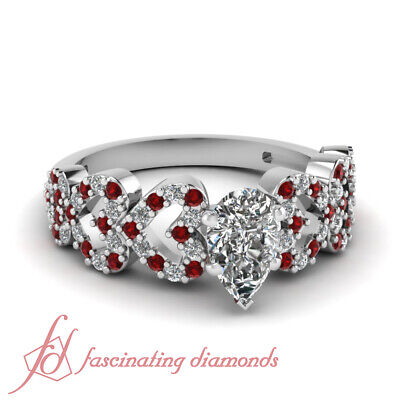 .85 Ct Pear Shaped Diamond & Red Ruby Pave Set Engagement Ring SI1-F Color GIA