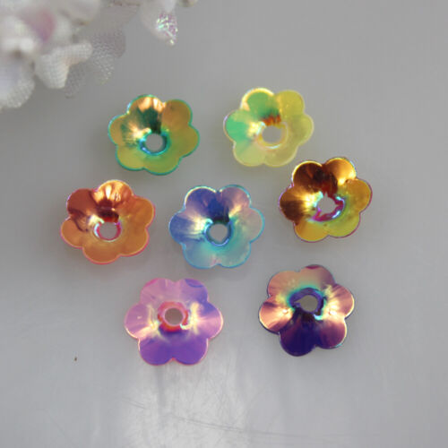 500 Multi Color Iridescent Acrylic Flower Beads Cap Sequins Jewelry Crafts 10mm