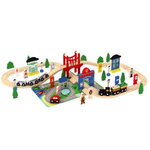 Wooden 80 Pcs Busy City & Train Set Railway Track Toy Brio Bigjigs Compatible