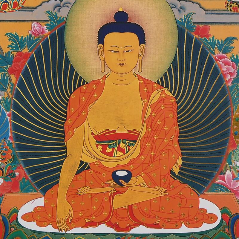 "48"" BLESSED BROCADED GOLDEN WOOD SCROLL TIBETAN THANGKA: SHAKYAMUNI BUDDHA ="