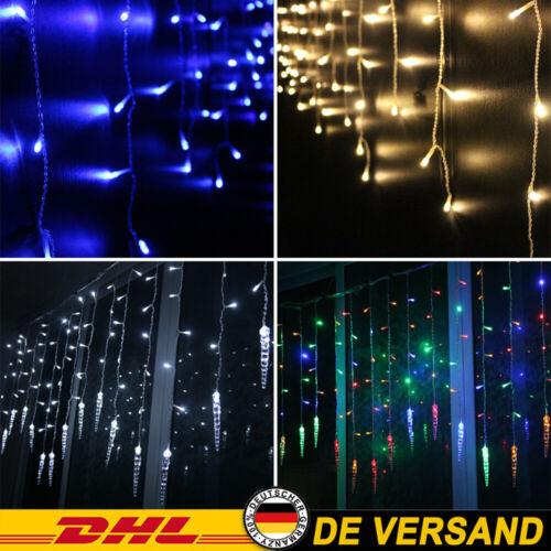 LED Lichterkette Eisregen Party Lichtervorhang Außen/Innen Weihnachtsdeko 8 Modi