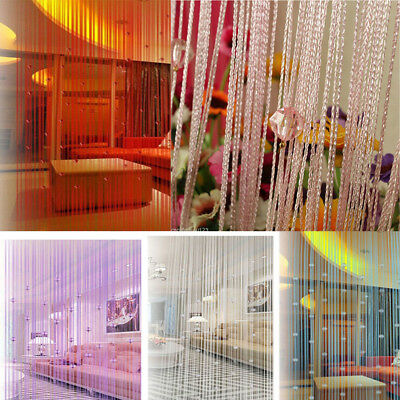 New 1x2m Door Window Voile String Curtain Polyester Valances Tassel Crystal Bead 2 New Valances Curtains