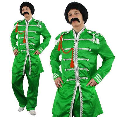 GREEN SERGEANT PEPPER MENS COSTUME 1960S ENGLISH ROCK BAND OUTFIT FANCY (Sergeant Pepper Kostüm)
