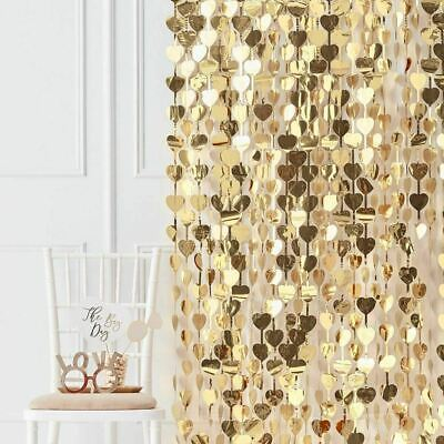 Gold Hearts  Foil Curtain Wall Door Backdrop Party Photo Booth Decoration