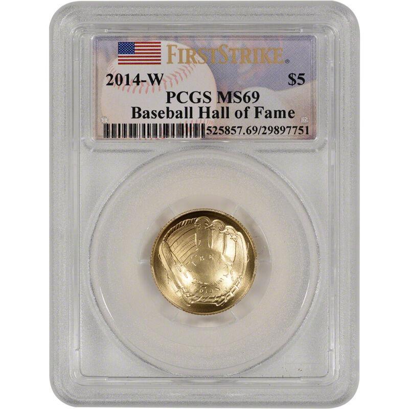 2014-W US Gold $5 Baseball BU - PCGS MS69 - First Strike - Hall of Fame Label
