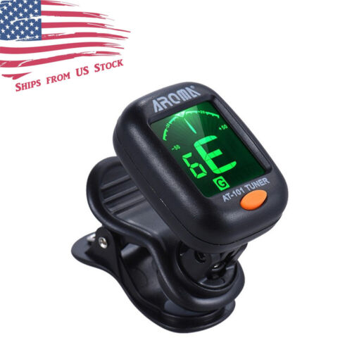 Clip-On LCD Digital Tuner for Guitar, Bass, Violin, Ukulele, Chromatic AT-01A US