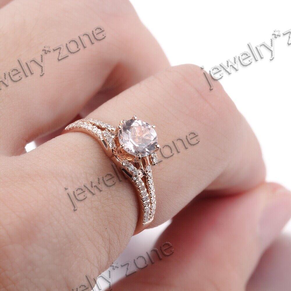 Elegant Round Cut Genuine Morganite Engagement Diamonds Fine Ring ...