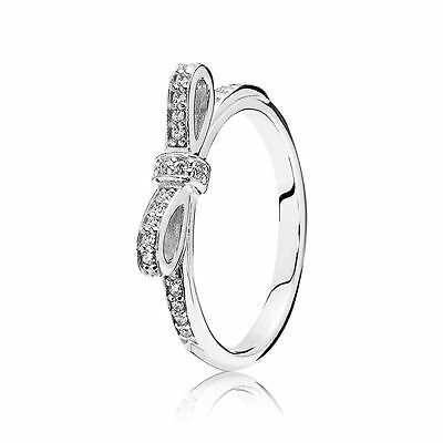 New Authentic Pandora 925 Silver Sparkling Bow Ring 190906CZ Size 6/52 w/ (Bow Ring Jewellery Box)