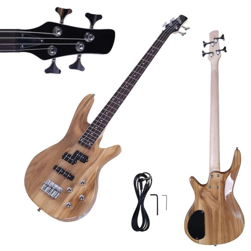 New IB Basswood 24 Frets Electric Bass Guitar Natural Color