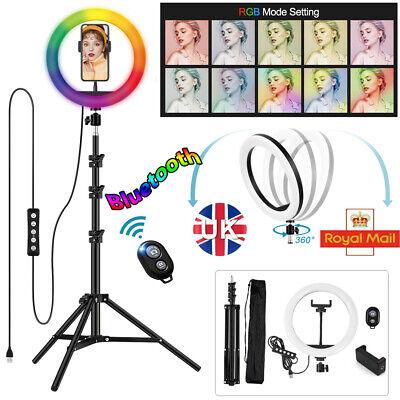"10""RGB LED Ring Light Dimmable Lighting Kit+Tripod Stand BluetoothShutter Selfie"