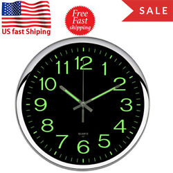 New 12''  Luminous Larger Arabic Number Quartz Black Wall Clock Night Light USA