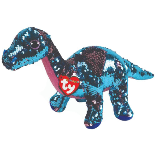 "Ty Sequins Flippables 6"" Tremor Dinosaur Stuffed Animal Plush MWMTs Ty Heart Tag"