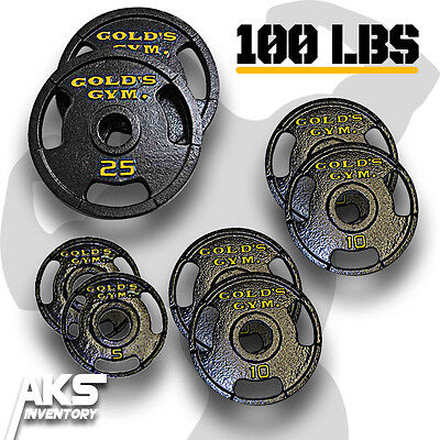 """Golds Gym 100lb Weight Set 2"""" Olympic Grip Plate Weights Home Gym Lifting Plates"""