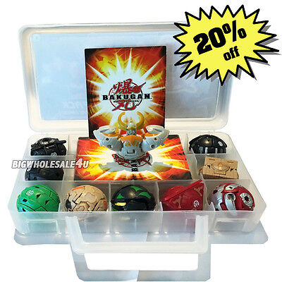Child Gift Bakugan Battle Brawlers 9 Different Boys Bakugans & 9 Cards WIth Case